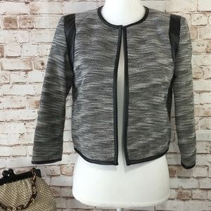 Calvin Klein 4 Tweed Open Blazer Jacket 3/4 Sleeve